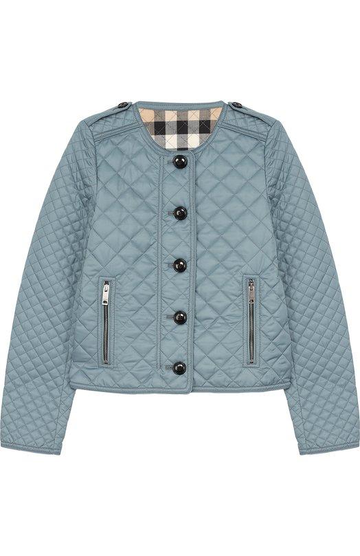 BURBERRY   Голубой Стеганая куртка с контрастными пуговицами Burberry    Clouty ... 95e8c88c7e8