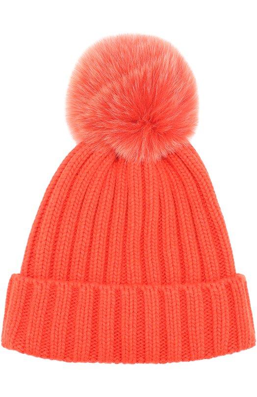 вязаная шапка с меховым помпоном Nima C001v0 цвет оранжевый