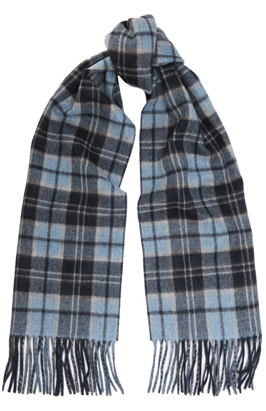 Kiton | Темно-синий Кашемировый шарф с бахромой Kiton | Clouty
