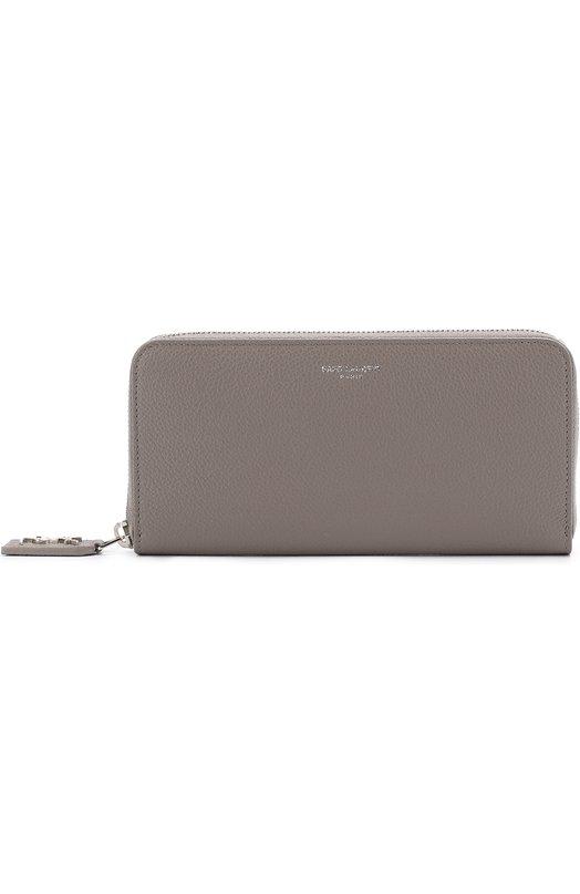 5520b701a085 SAINT LAURENT | Серый Кожаное портмоне на молнии с логотипом бренда Saint  Laurent | Clouty ...