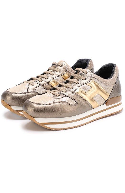 HOGAN | Золотой Кожаные кроссовки с металлизированной отделкой на толстой подошве Hogan | Clouty