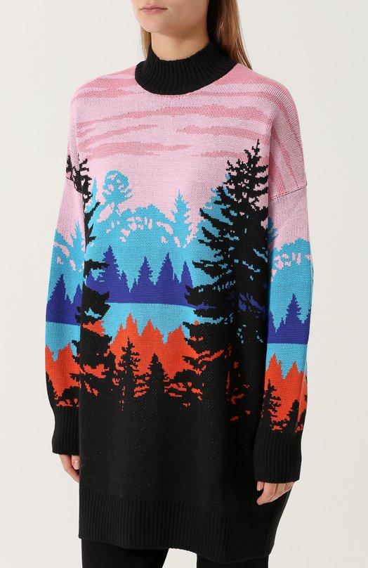 MSGM | Розовый Удлиненный свитер с ярким принтом MSGM | Clouty