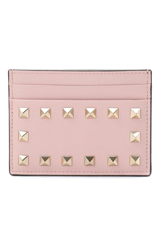 VALENTINO | Светло-розовый Кожаный футляр для кредитных карт Valentino Garavani Rockstud | Clouty