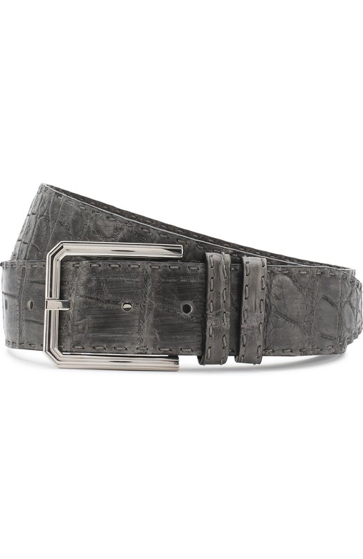 Kiton | Серый Ремень из кожи крокодила с металлической пряжкой Kiton | Clouty