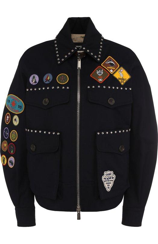 DSQUARED2   Темно-синий Хлопковая куртка с отложным воротником и  контрастными нашивками Dsquared2   Clouty ... fac640e8940