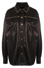 Фото Кожаная блуза свободного кроя с накладными карманами Versace