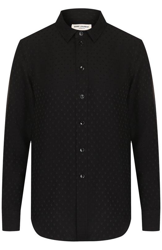SAINT LAURENT | Черный Шелковая блуза с принтом Saint Laurent | Clouty
