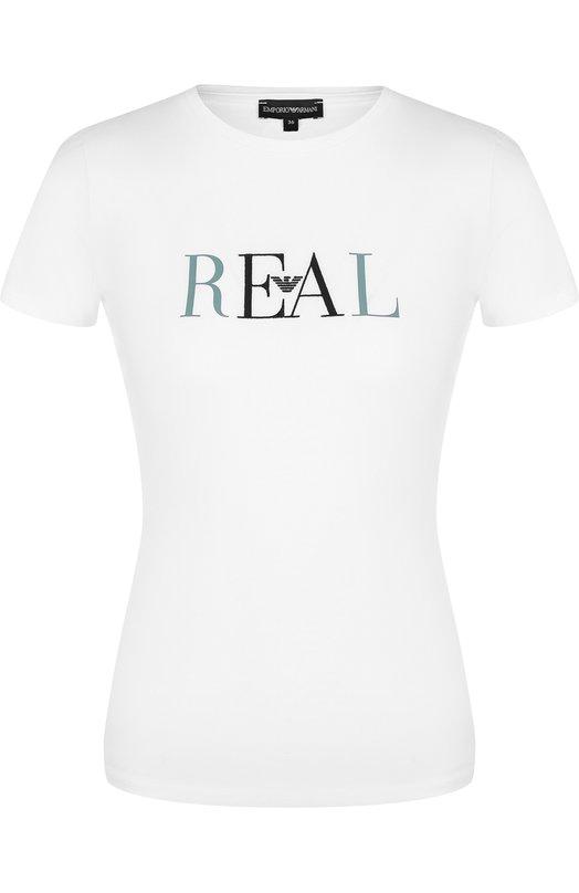 Emporio Armani | Белый Хлопковая футболка с круглым вырезом и надписью Emporio Armani | Clouty