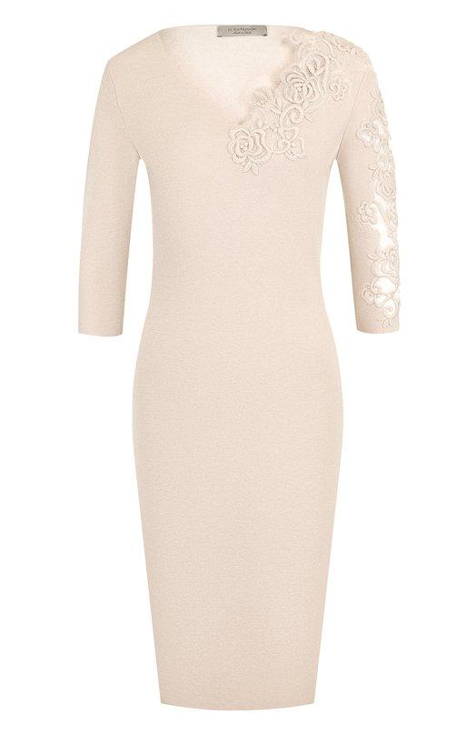 D.Exterior | Бежевый Однотонное платье с V-образным вырезом и декоративной вышивкой D.Exterior | Clouty