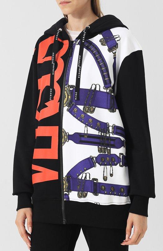 Versus | Разноцветный Хлопковый кардиган с капюшоном и принтом Versus Versace | Clouty