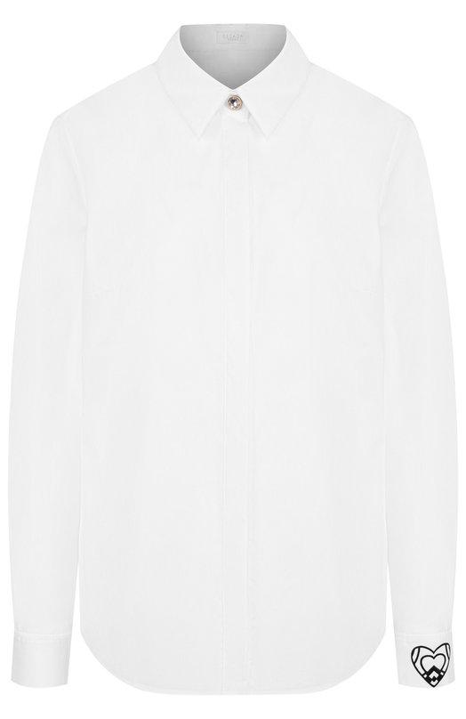 Escada Sport | Белый Хлопковая блузка с контрастной пуговицей и принтом на рукаве Escada Sport | Clouty