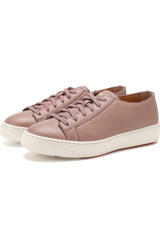 Santoni | Светло-розовый Кожаные кеды на шнуровке Santoni | Clouty