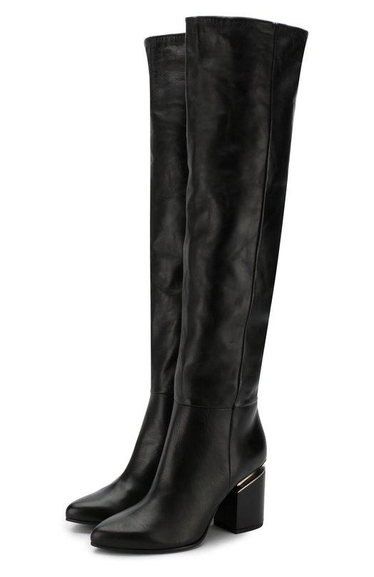 Vic Matiē | Черный Кожаные ботфорты на устойчивом каблуке Vic Matie | Clouty