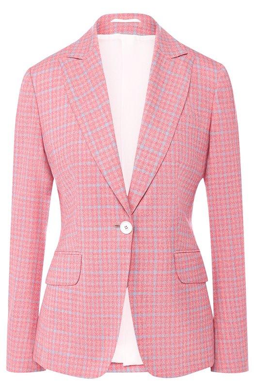 Kiton | Розовый Приталенный кашемировый жакет в клетку Kiton | Clouty