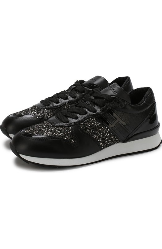 HOGAN | Черный Кожаные кроссовки с глиттером на шнуровке Hogan | Clouty