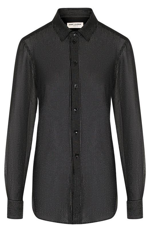 SAINT LAURENT | Черный Шелковая блуза в полоску Saint Laurent | Clouty