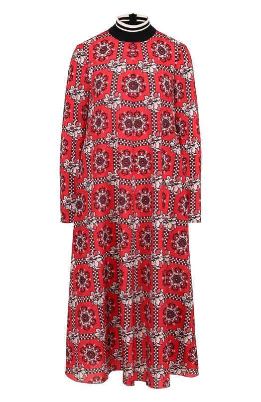 VALENTINO RED | Красный Платье-миди свободного кроя с воротником-стойкой и принтом REDVALENTINO | Clouty
