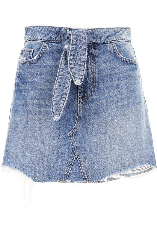 Paige | Голубой Джинсовая мини-юбка с потертостями и поясом Paige | Clouty