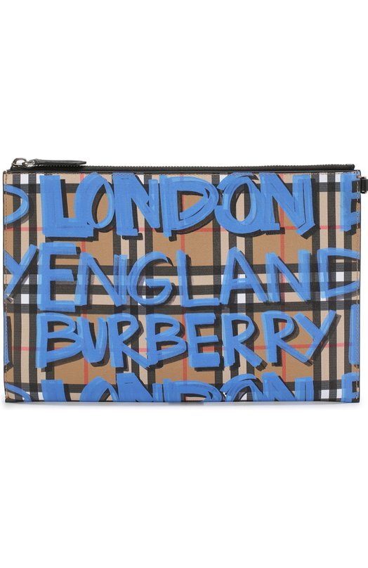 BURBERRY | Синий Кожаный футляр для документов в клетку Vintage Check Burberry | Clouty