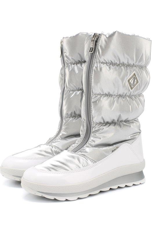 Jog Dog | Серебряный Текстильные утепленные сапоги на молнии Jog Dog | Clouty