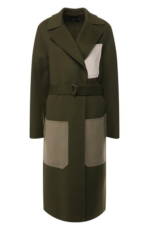 JOSEPH | Темно-зеленый Пальто из смеси шерсти и кашемира с поясом и накладными карманами Joseph | Clouty
