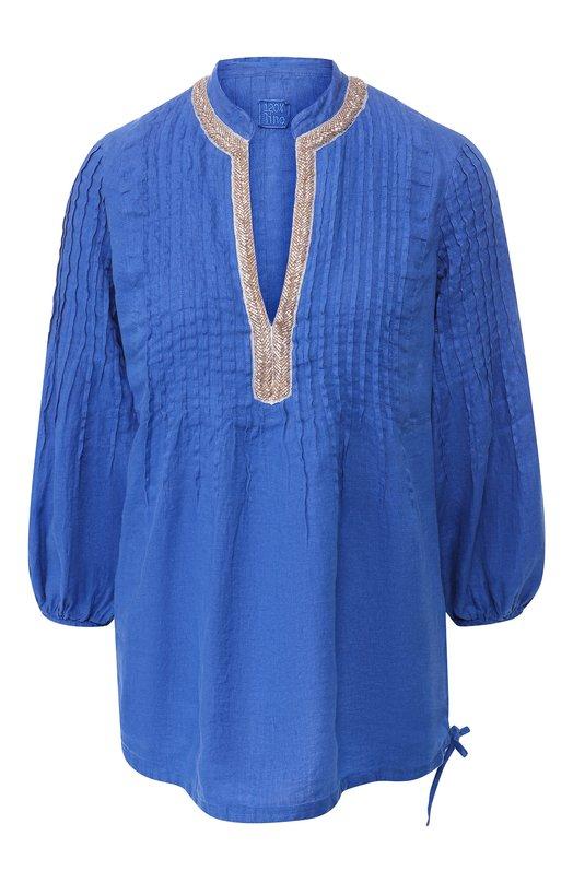 120% Lino   Синий Льняная рубашка 120% Lino   Clouty