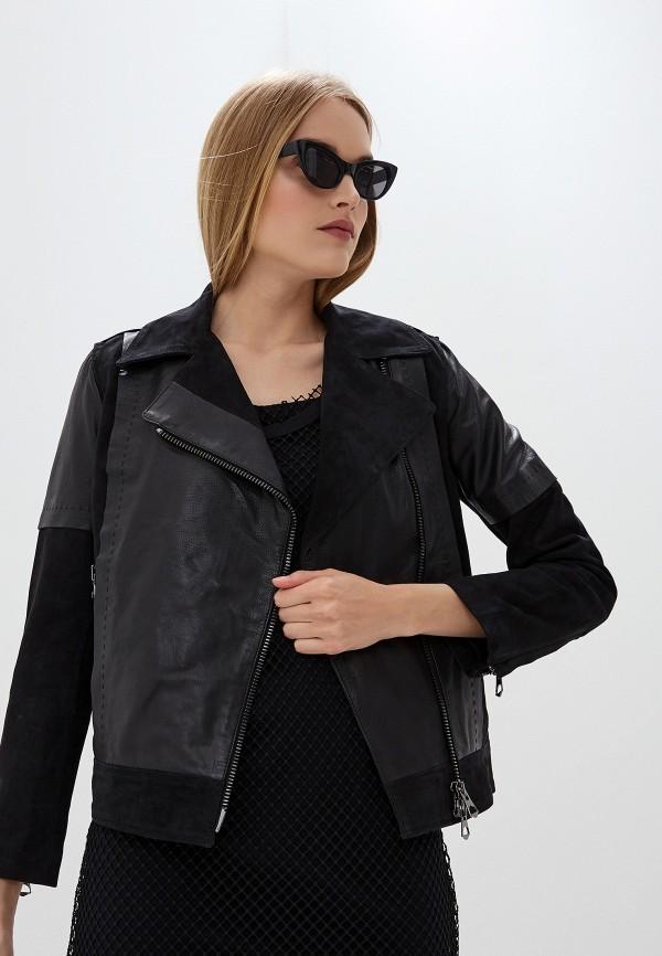 Armani Exchange | черный Женская черная кожаная куртка Armani Exchange | Clouty