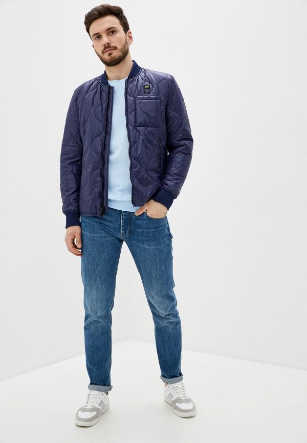 Blauer USA | синий Мужская синяя утепленная куртка Blauer USA | Clouty