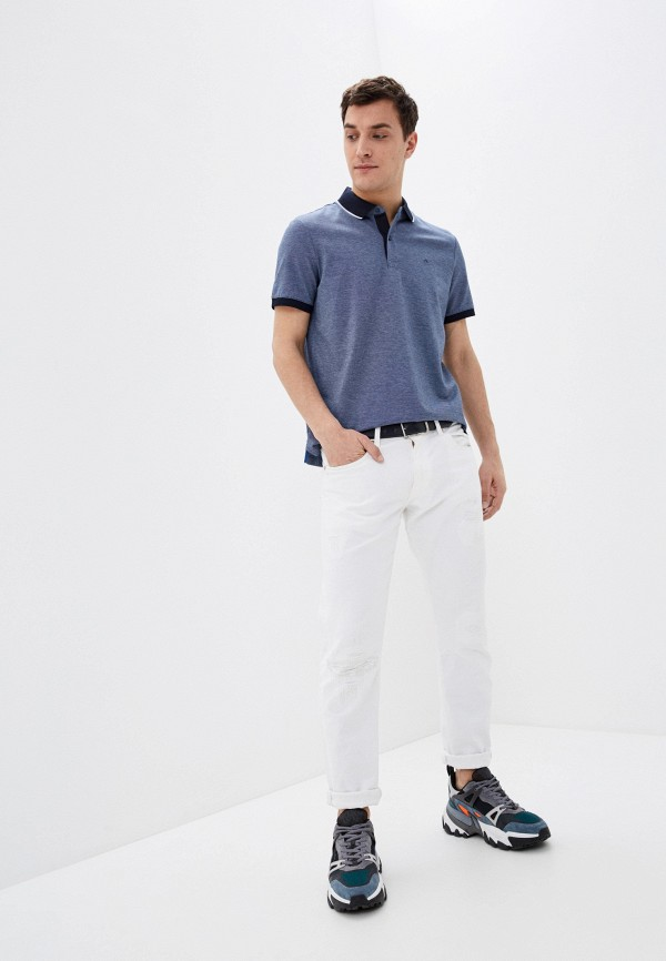 Calvin Klein | синий Мужское синее поло Calvin Klein | Clouty