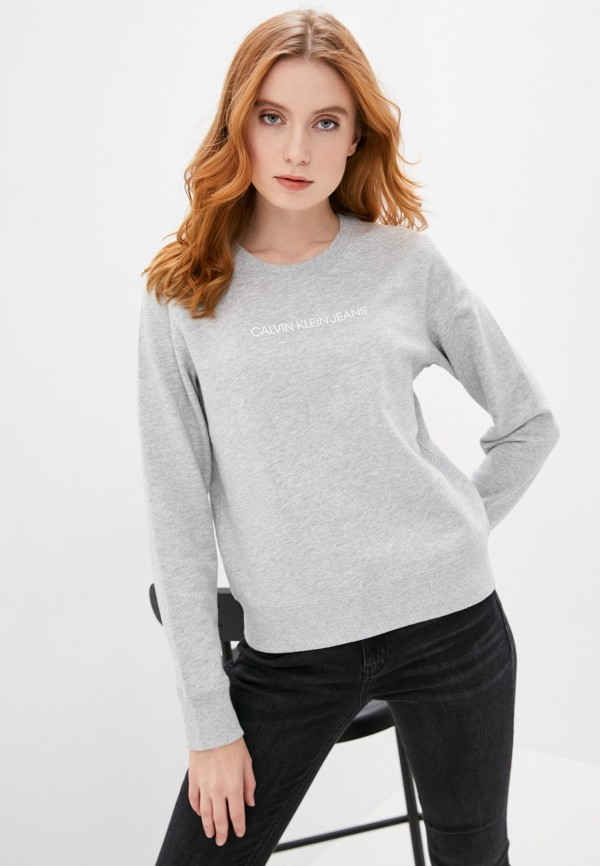 Calvin Klein Jeans | Женский серый свитшот Calvin Klein Jeans | Clouty