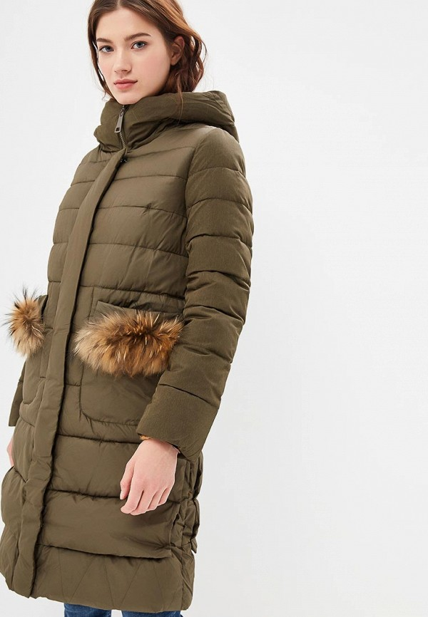 Clasna   хаки Женская зимняя утепленная куртка Clasna   Clouty