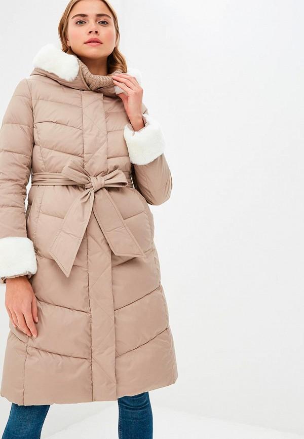 Clasna | бежевый Женская бежевая утепленная куртка Clasna | Clouty