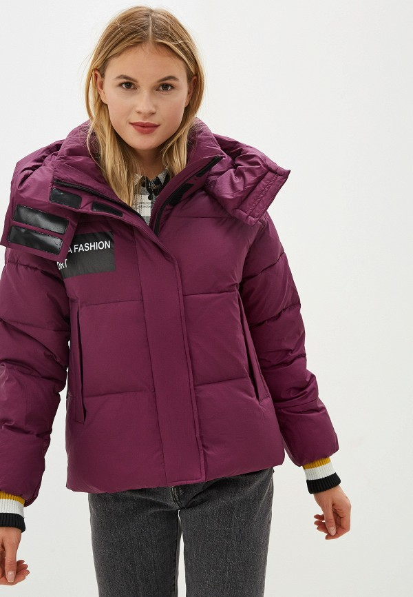 Clasna | фиолетовый Женская зимняя фиолетовая утепленная куртка Clasna | Clouty
