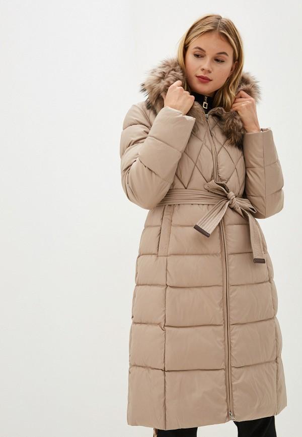Clasna | бежевый Женская зимняя бежевая утепленная куртка Clasna | Clouty