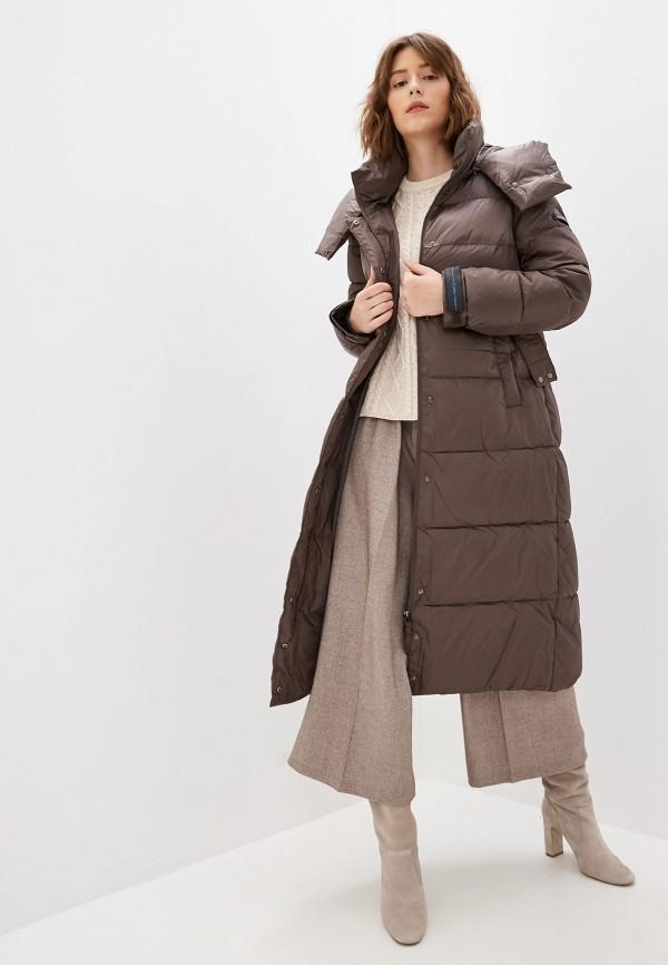 Clasna   коричневый Женская зимняя коричневая утепленная куртка Clasna   Clouty