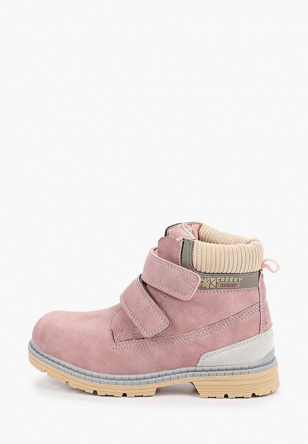 Crosby   розовый Зимние розовые ботинки Crosby термопластиковая резина для девочек   Clouty