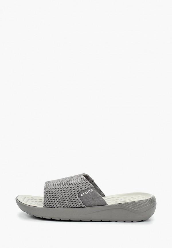 Crocs | серый Мужские серые сланцы Crocs полимер | Clouty