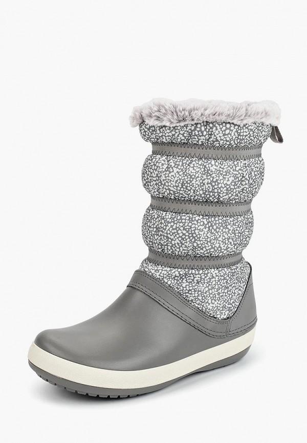 Crocs   серый Женские зимние серые дутики Crocs резина   Clouty