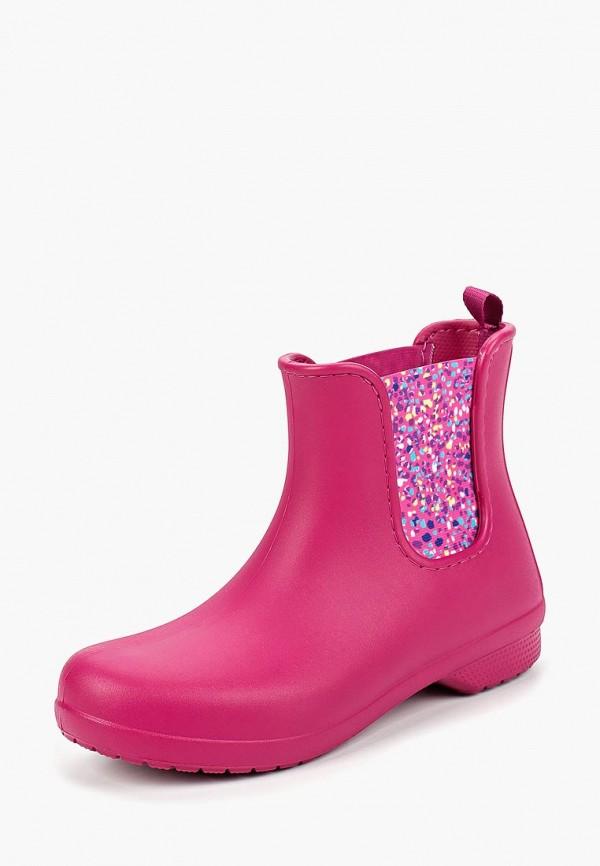 Crocs | розовый Женские розовые резиновые полусапоги Crocs резина | Clouty