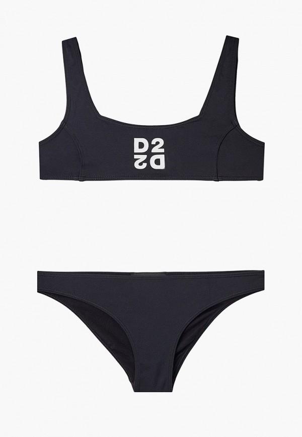 DSQUARED2 | Летний черный купальник DSQUARED2 для девочек | Clouty
