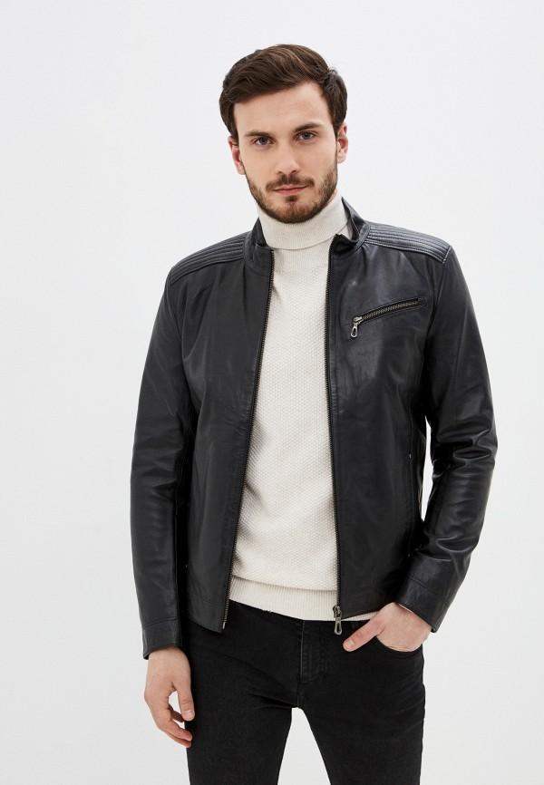 Giorgio Di Mare | черный Мужская черная кожаная куртка Giorgio Di Mare | Clouty