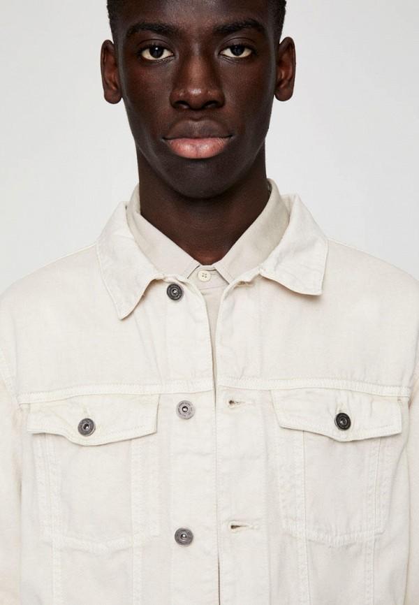 Pull & Bear | бежевый Мужская бежевая джинсовая куртка Pull & Bear | Clouty