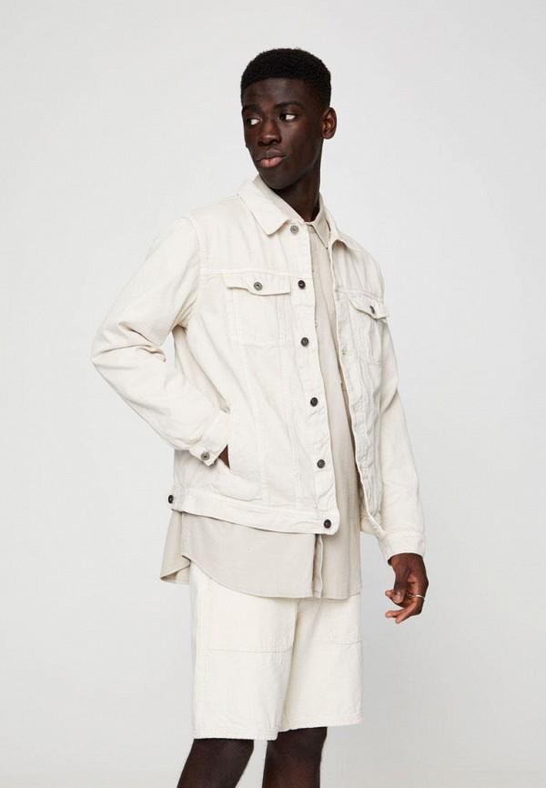 Pull & Bear   бежевый Мужская бежевая джинсовая куртка Pull & Bear   Clouty