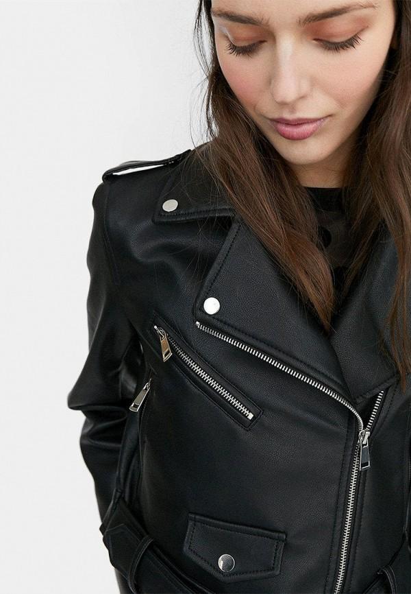 Stradivarius | черный Женская черная кожаная куртка Stradivarius | Clouty