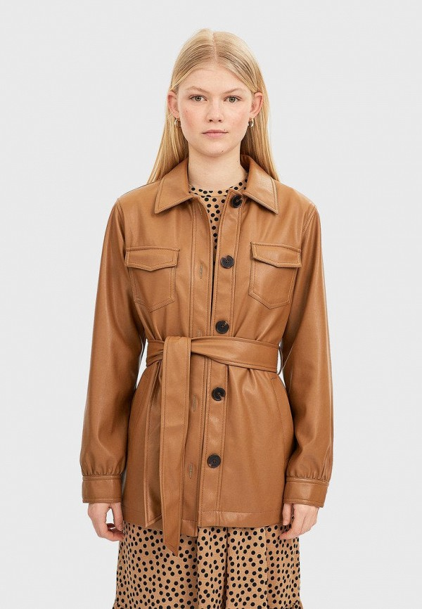 Stradivarius | коричневый Женская коричневая кожаная куртка Stradivarius | Clouty