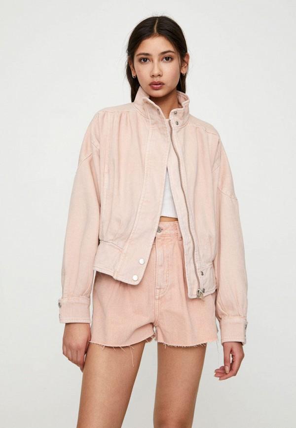 Pull & Bear   розовый Женская розовая джинсовая куртка Pull & Bear   Clouty