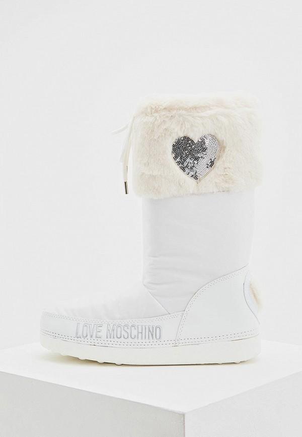 Love Moschino | белый Женские белые луноходы Love Moschino резина | Clouty