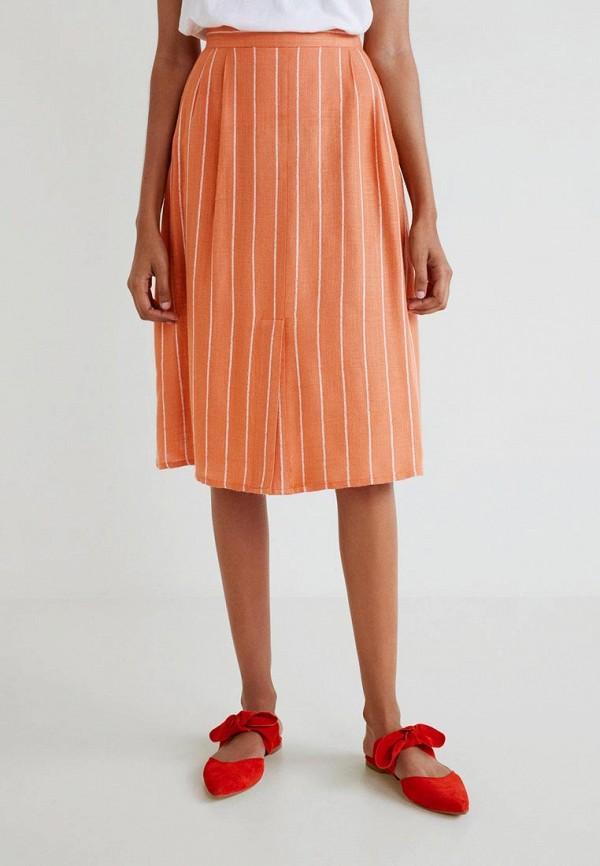 MANGO | оранжевый Женская летняя оранжевая юбка MANGO | Clouty