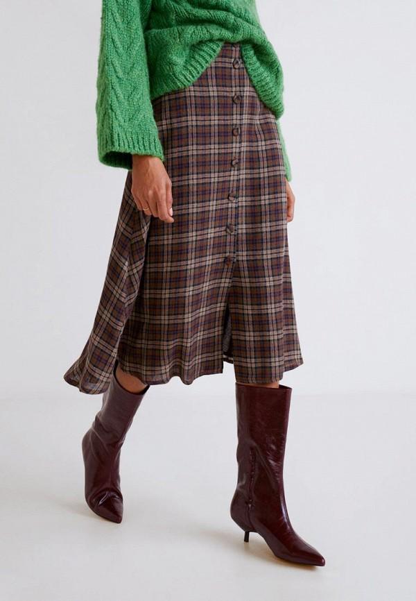 MANGO   коричневый Женская коричневая юбка MANGO   Clouty