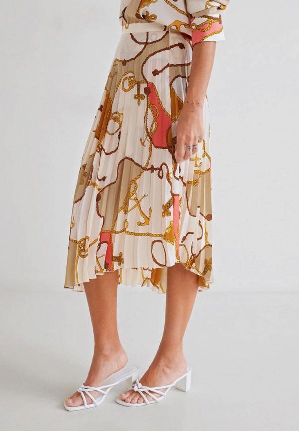 MANGO | бежевый Женская летняя бежевая юбка MANGO | Clouty